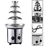 expert store VD-51743HW 4 Tiers Commercial Stainless Steel Hot Luxury Chocolate Fondue Fountain New, 20'' 5'' 5'', Sliver