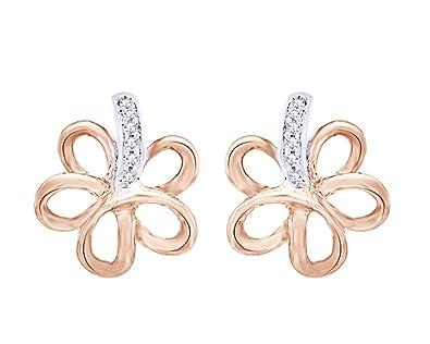 36febb1c80f13 Amazon.com: Round Cut Diamond Accent Flower Stud Earrings In 14K ...