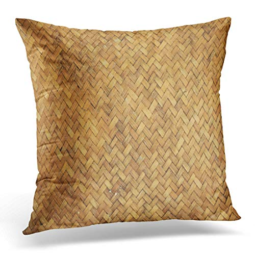 Woven Throw Bamboo (Emvency Throw Pillow Cover Pattern Brown Basket Bamboo Woven Chinese Rustic Straw Wooden Decorative Pillow Case Home Decor Square 18