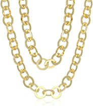 18k Yellow Gold Plated Bronze Link Chain Necklace, 38&