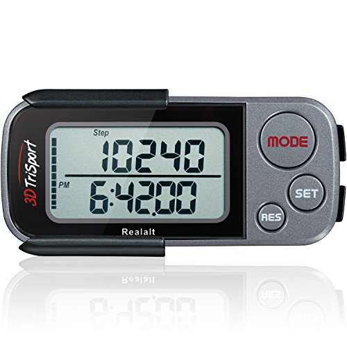 3DTriSport Walking 3D Pedometer with Clip and Strap, Free eBook | 30 Days Memory, Accurate Step Counter, Walking Distance Miles/Km, Calorie Counter, Daily Target Monitor, Exercise Time (Grey/Black) ()
