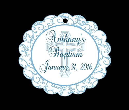 Set of Boys Baptism,Christening, or Communion Favor Tags/Party Tags - All Wording Customized