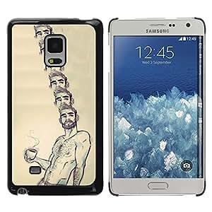 Paccase / SLIM PC / Aliminium Casa Carcasa Funda Case Cover - Portrait Coffee Shirtless Man Beard Hot - Samsung Galaxy Mega 5.8 9150 9152