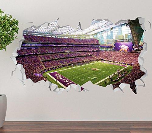 ldier Field Wall Decal Smashed 3D Sticker Vinyl Decor Mural NFL - Broken Wall - 3D Designs - OP237 (Giant (Wide 50