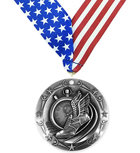 Silver Track And Field World Class Medal   2Nd Place   Comes With Exclusive Decade Awards Stars   Stripes American Flag V Neck Ribbon   3 Inch Wide   Made Of Metal   Meet Competition  Silver