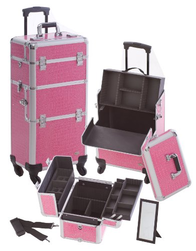 Professional 3-1 Rolling Cosmetic Makeup Train Case Color: Silver by Seya