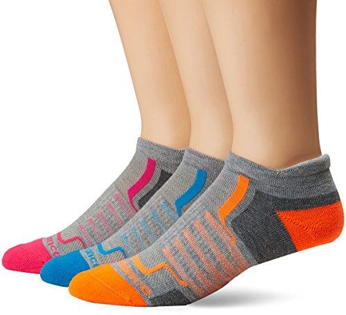 New Balance Performance Low Cut Tab Socks (3 Pair), Light Grey/Dark Grey/Blue/Pink/Orange, - Balance Performance New