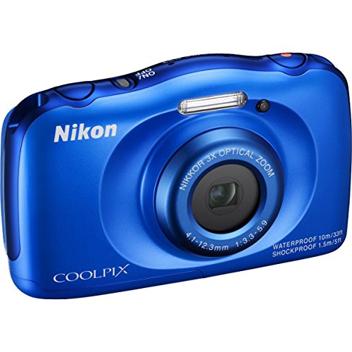 Nikon COOLPIX S33 13.2MP Waterproof Digital Camera - Blue (Certified Refurbished)