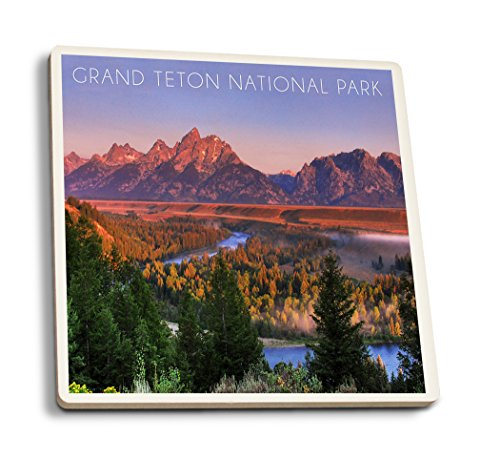 Grand Teton National Park, Wyoming - Sunset River and Mountains (Set of 4 Ceramic Coasters - Cork-backed, Absorbent) - Mountains Grand Teton National Park