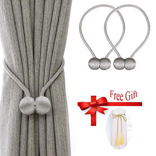 - Silver Gray Magnetic Curtain Tiebacks Without Wall Punch, Bracket Free Installation, Strong Magnetic Convenient for Home Office Decorative Drapes Weave Curtain Tiebacks (2 Pack)