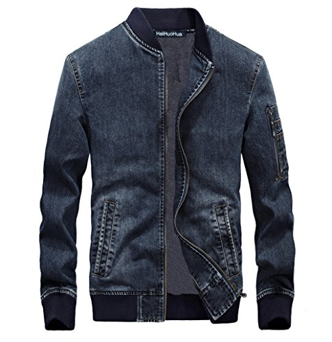 Heihuohua Men's Zip-Front Denim Bomber Jacket Blue Jean Jacket
