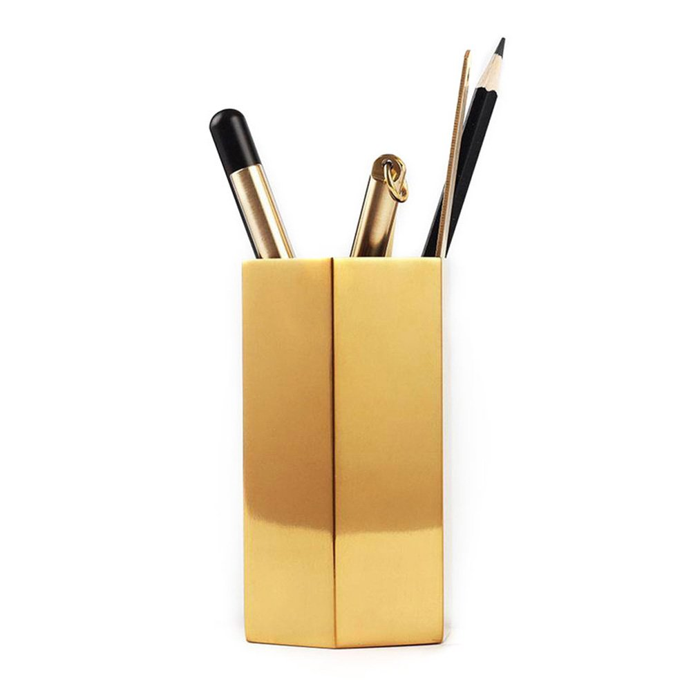Metal Gold Pen Container, Yhouse Bottom Heavy Makeup Brush Holder Pencil Cup Desk Organizer for Office,Home,School
