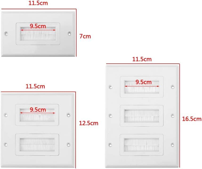 Type 3 lyrlody Plaque Murale pour Passage de C/âbles Type Brosse Brosse Plaque Murale C/âble Entr/ée Sortie Id/éale pour Les Files d/'Enceintes Consoles de Jeux Anti Poussi/ère