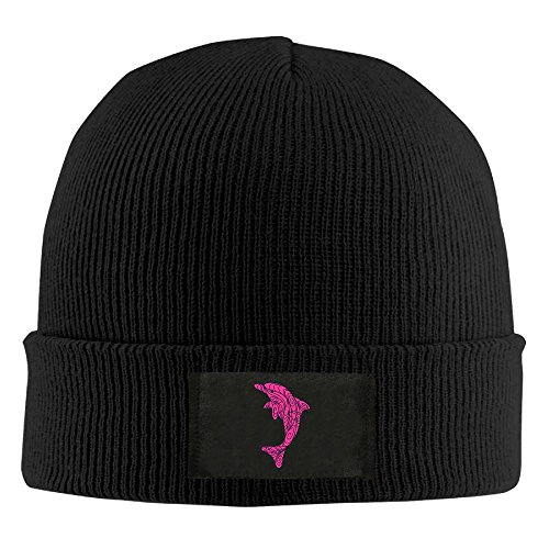 Pink Swirling Dolphin Beanie Hat Logo Ski Hat Keeps You Warm & Stylish In Cold (Gold Dolphin Hat)