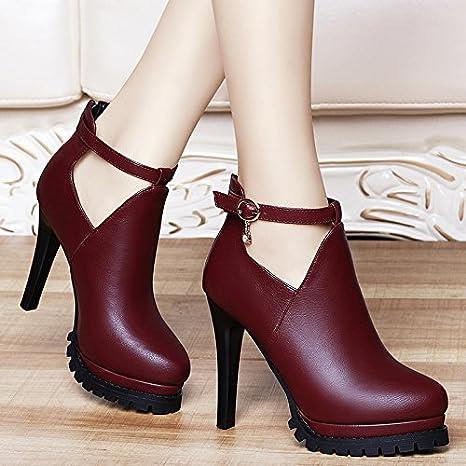 AJUNR-Zapatos De Mujer De Moda 11Cm Rojo Elegante Cuero Zapatos Zapatos De Mujer Otoño Nueva Versión Coreana De La Multa High-Heeled Salvajes Con La Moda Mujer Zapatos Rojo 34