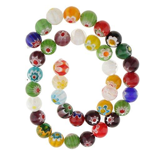 MonkeyJack Wholesale Mix Colors Millefiori Flower Lampwork Glass Round Beads DIY Choose 4mm 6mm 8mm 10mm 12mm - Multicolor, 10 mm