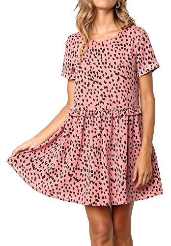 Pink Crewneck Peplum Polka Dot Loose Swing Casual Chiffon Short T-Shirt Dress