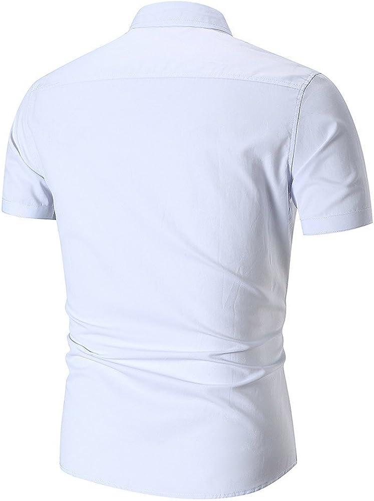 Hellosay Mens Letter Pocket Short Sleeve Shirt Summer Casual Slim T Shirt Gray