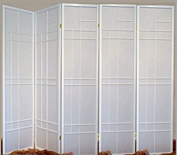 trend room divider screen white 5 panel double sided foldable