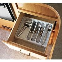 """Bandeja de cubiertos ajustable de Camco: diseñada para RV y cajones de cocina compactos, se ajusta entre 9 """"y 13"""" para un ajuste personalizado fácil - Blanco (43503)"""
