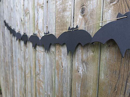 Black Bats Halloween Banner, Spooky Garland, Party Decorations, 6 Foot Length, Halloween Party Decorations, Wall Decor, Bat -
