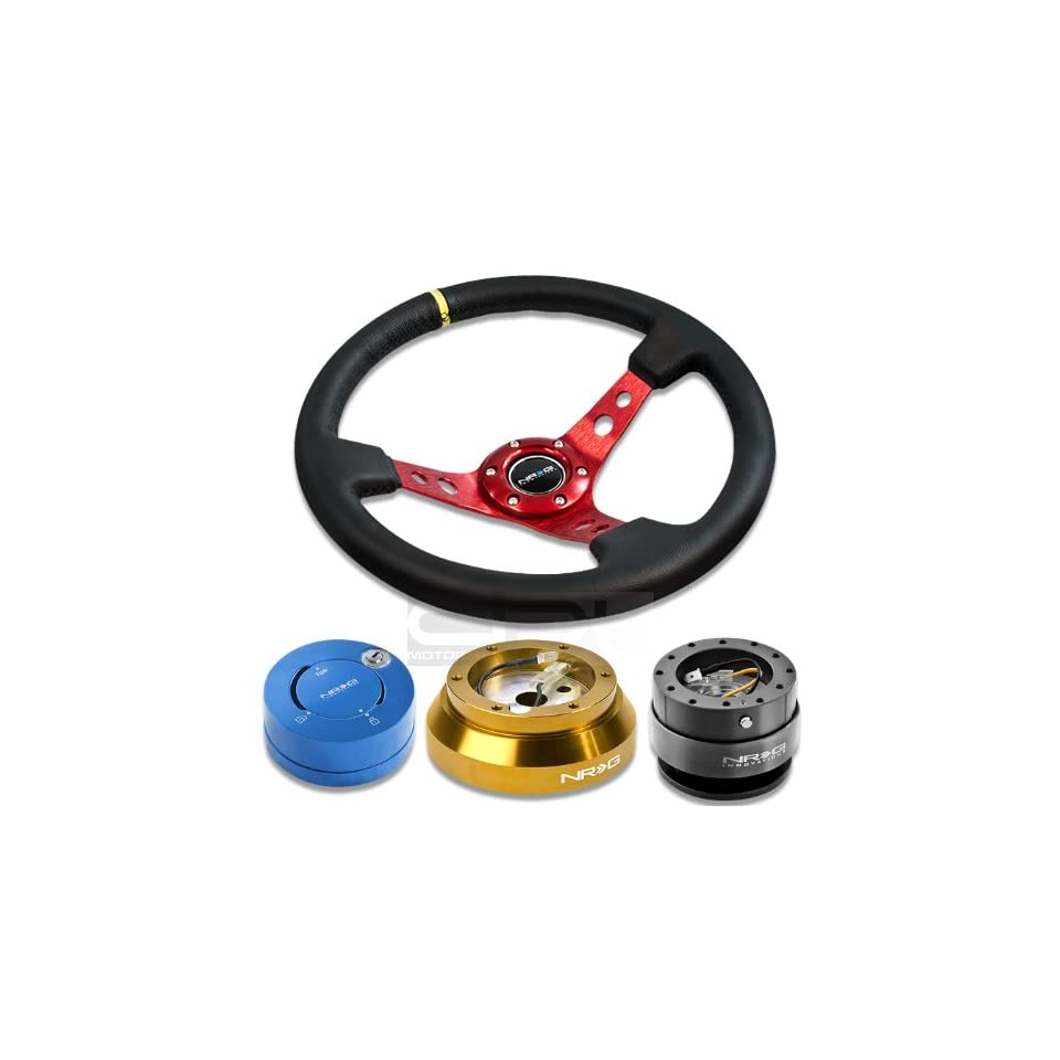 NRGSRK140HRG+200GM+101BL+006RDY, NRG Innovations 13.78 350mm 3 Deep Dish Style Black Leather Yellow Center Marking Red Spokes Racing Steering Wheel Combo with 6 Hole Short Hub Adapter with Gen 2.0 Gun Metal Quick Release with Blue Lock Hub Kit SRK 140H