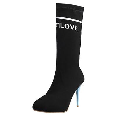 Women Fashion Letter Mid Boots Stiletto Heels