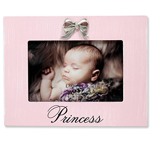 Lawrence Frames Wash Princess Picture Frame Bow Ornament, 6 by 4-Inch, Pink
