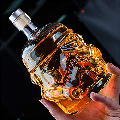Whiskey Decanter Glasses - Personalized Flask Carafe Decanter Transparent 100% Lead Free Crystal Clear for Brandy,Scotch,Bourbon,Vodka,Liquor - 750ml ()