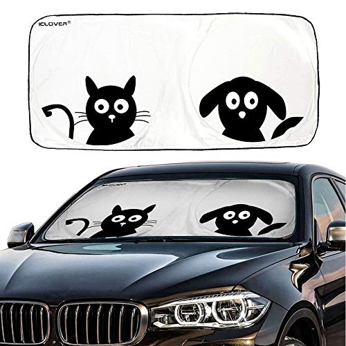 IC ICLOVER Car Windshield Sunshade with Pet Design, Cute Cartoon Design Front Auto Car Windshield Sun Shade Folding Silvering Sun Visor - UV Coating for UV Ray Deflector (59