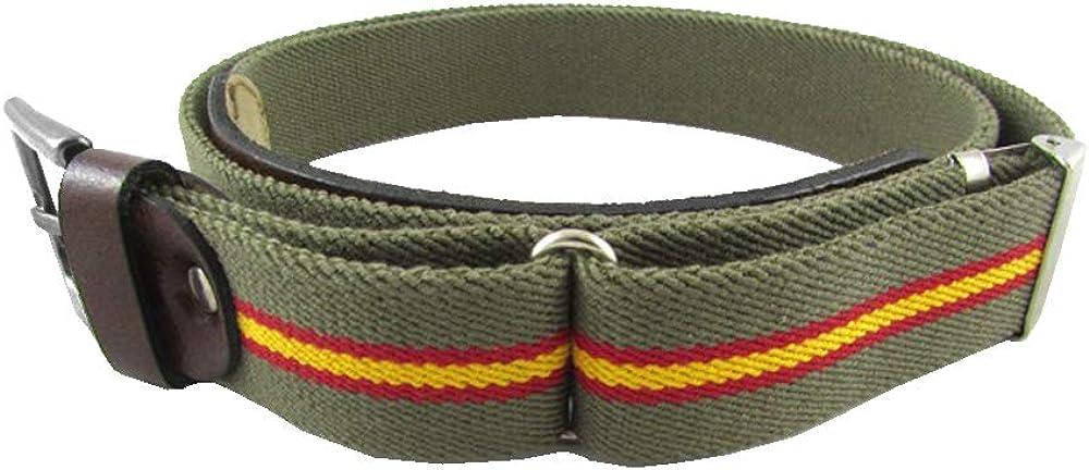 LGP - Cinturon Bandera de España Lona Elastica Verde y Piel de vacuno, Extensible: Amazon.es: Ropa y accesorios
