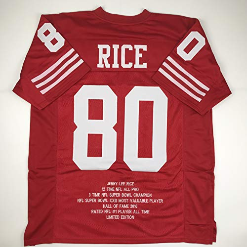 f56ac4e15 Unsigned Jerry Rice San Francisco Red Stat Custom Stitched Football Jersey  Size Men s XL New No Brands Logos