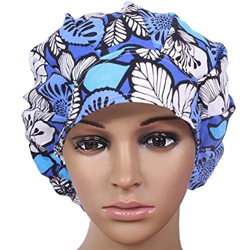 Opromo Cotton Bleach Friendly Banded Adjustable Scrub Cap Sweatband Bouffant Hat-Blue - Cap Scrub Blue