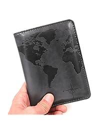 Kandouren RFID Blocking Passport Holder Cover Case,Travel Luggage Passport Wallet Made with Gray World Map PU Leather for Men & Women