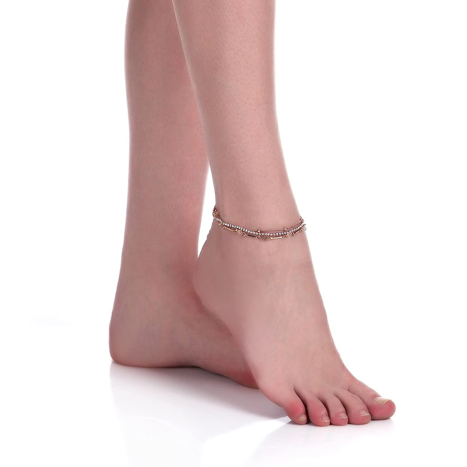LUREME Sexy Gold Double Chain Crystal Anklet Bracelet Anklet Foot Jewelry Barefoot Beach Anklet (bl003083)