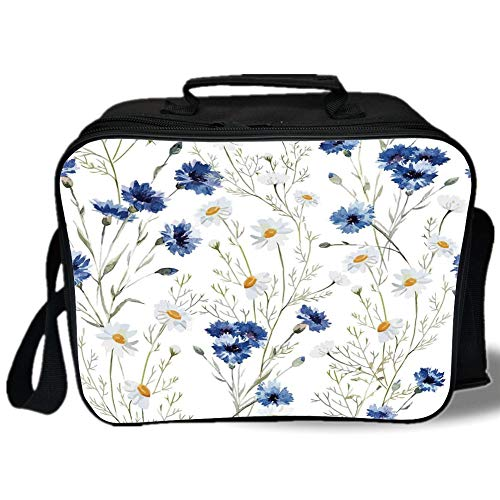 Watercolor Flower 3D Print Insulated Lunch Bag,Wildflowers and Cornflowers Daisies Blooms Flower Buds,for Work/School/Picnic,Blue Sage Green - Gold Cutlery Max