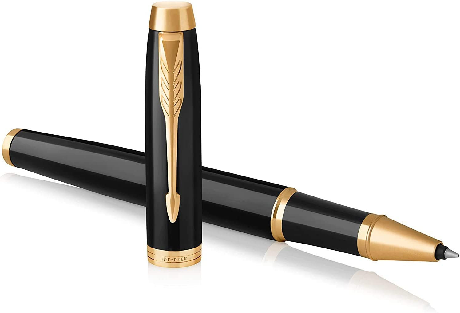 PARKER IM Rollerball Pen, Black Lacquer Gold Trim with Fine Point Black Ink Refill, Gift Box (1931659)