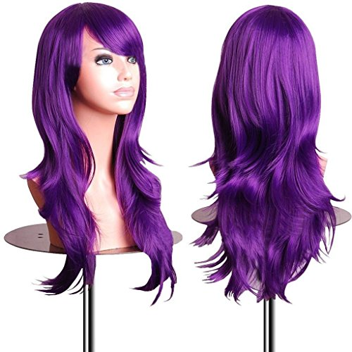 28 inch Purple Cosplay Wigs Long Curly Hair Ends Halloween Costume Cosplay Party Wavy Heat Resistant Wig for Women With Bangs (Halloween Hair Wigs)