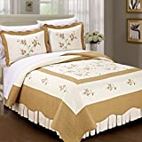 Eastern King Sheet Dimensions Serenta Classic Gold Hawaiian Flowers 100% Cotton Bedspread Quilt Blanket 3 Pieces Bed Set, King