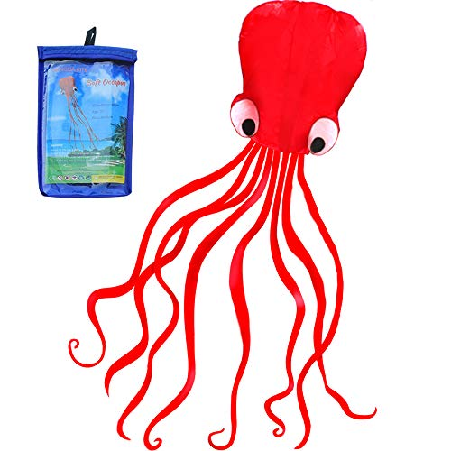 HENGDA KITE Software Octopus Flyer Kite with Long Colorful Tail for Kids, 31-Inch Wide x 157-Inch Long, Large, Red ()