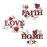 Red Home, Love And Faith Metal Wall Art - Set of 3