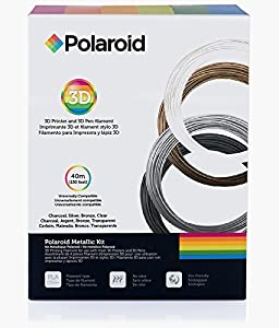 Polaroid FILKITMET Metallic PLA Filament Kit, 1.75 mm Diameter. Charcoal, Silver, Bronze, Clear (130 Linear Feet Total)