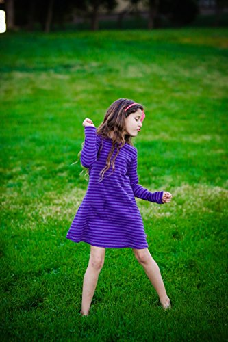 City Threads Big Girls' Cotton Long Sleeve Dress For School or Play For Sensitive Skin SPD Sensory Friendly, Forest Green, 8 by City Threads (Image #3)