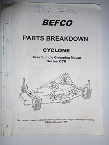 Befco C70 Cyclone Three Spindle Grooming Mower Parts Catalog Manual original