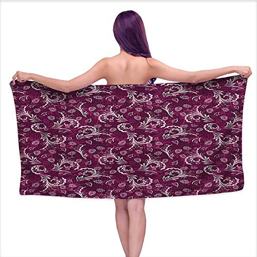 - Absorbent Bath Towel Soft Beach Towel, Fashi ed Swirled Petals Florets Image Magenta Caramel Brown B,Fade Resistant Cotton Towel W 27.5