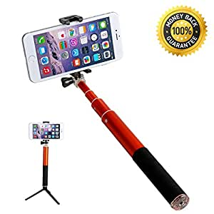 Ultra Light Aluminium Selfie Stick With Tripod QuickSnap Pro Self-portrait Monopod Extendable Wireless Bluetooth Selfie Stick with built-in Bluetooth Remote Shutter With Adjustable Phone Holder For iPhone 6, iPhone 6 Plus, iPhone 5 5s 5c,Samsung S5,S4, ,Google phone ,HTC (Tripod Included)
