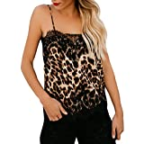 TWinmar -Women Sleevless Lace Leopard Print V Neck Cami Sexy Vest Fashion Camisole T-Shirt Tops