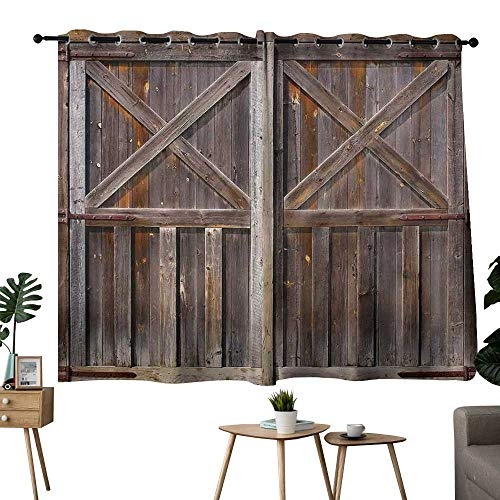 NUOMANAN Kitchen Curtains Rustic,Old Wooden Barn Door of Farmhouse Oak Countryside Village Board Rural Life Photo Print,Brown,Adjustable Tie Up Shade Rod Pocket Curtain 42