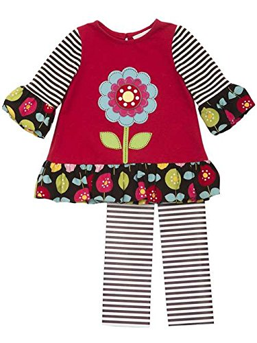 Rare Editions Toddler Girl Red Black Multi Flower Stripe Outfit 3T Rare Editions Spring