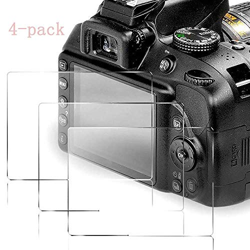 4 Pack Screen Protector Compatible Nikon D3400 D3500 D3300 D3200 D3100 DSLR Camera, [4 Packs] 9H Tempered Glass Shield Protection Cover Anti-Bubble Anti-Scratch Anti-Fingerprint Ultra-Clear